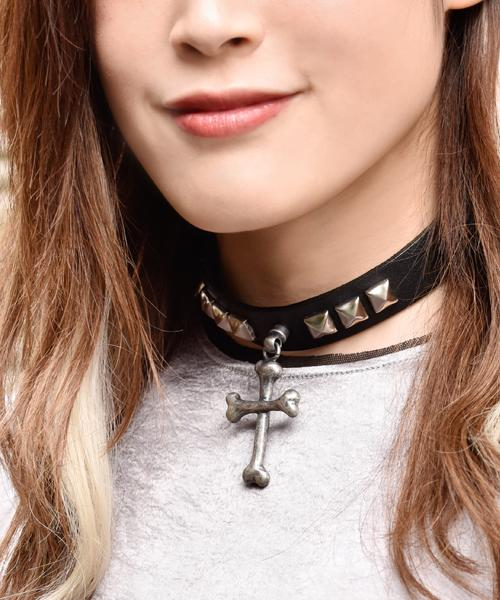 RiBone Leather Choker (Antique Silver)