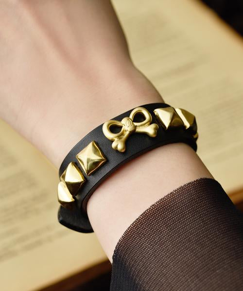 RiBone Leather Bracelet (Mat Gold)