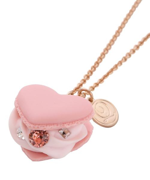 Love Heart Strawberry Milk Heart-shaped Macaron Necklace (Pink)