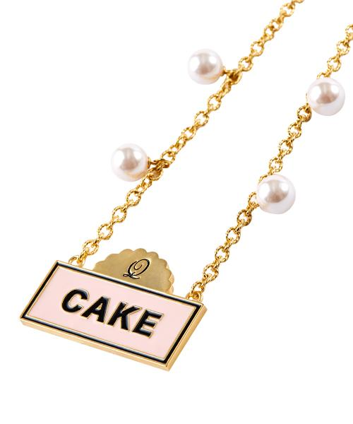 Cake Sign Necklace (Salmon Pink)