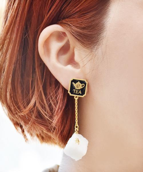 White Sugar for Tea Clip-on Earring (1 Piece)