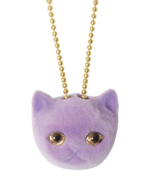 【Online Limited】Blueberry Milk Cat Necklace (Purple)