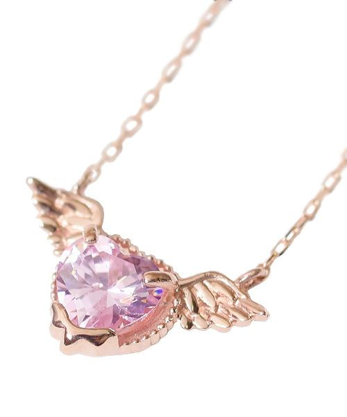 【10K-Pink Gold】Melty Angel Heart Necklace