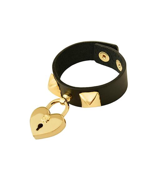 Heart Rock Padlock Leather Bracelet