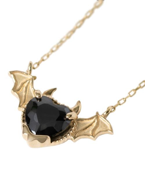 【10K-Yellow Gold】Melty Devil Heart Necklace [Black]