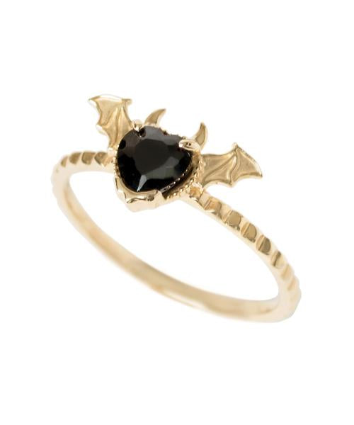 【10K-Yellow Gold】Melty Devil Heart  Ring [Black]