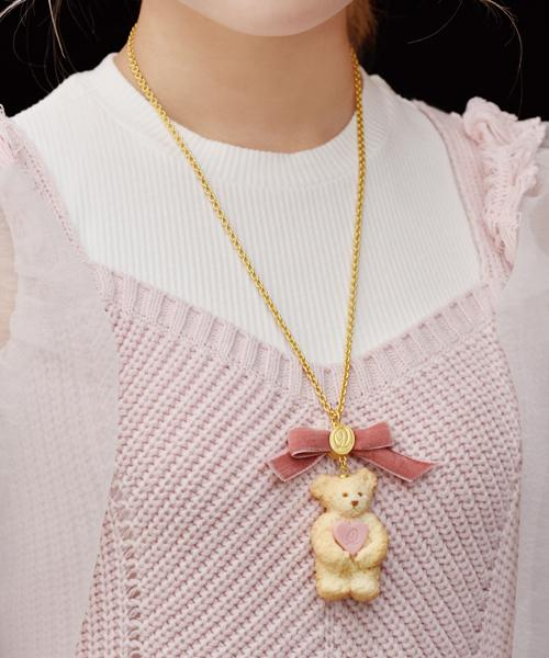 Teddy Bear Milk Cookie Necklace (Pink Heart)