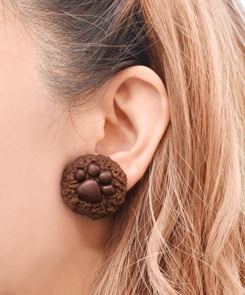 Teddy Bear's Paw Chocolate Cookie Pierced Earring (One-piece, NOT a pair)