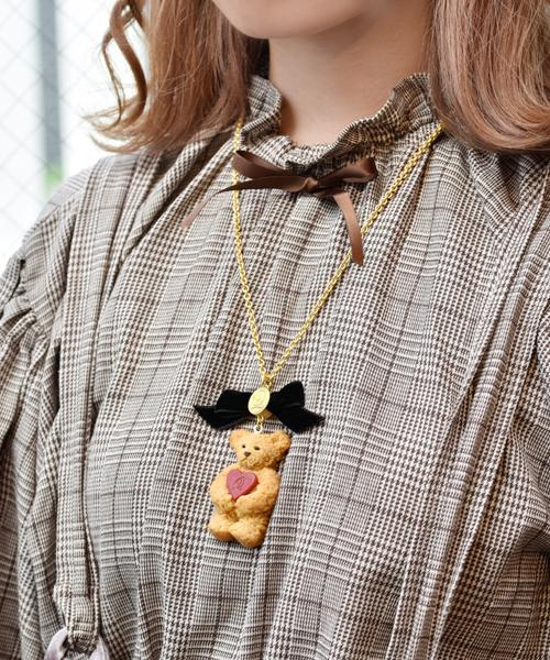 ★No.1★Teddy Bear Maple Cookie Necklace (Red Heart)