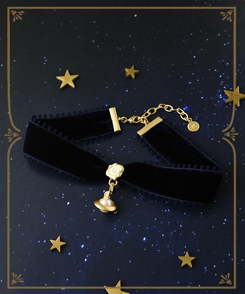 Velvet Ribbon Choker (Navy) & Milk Planet Charm