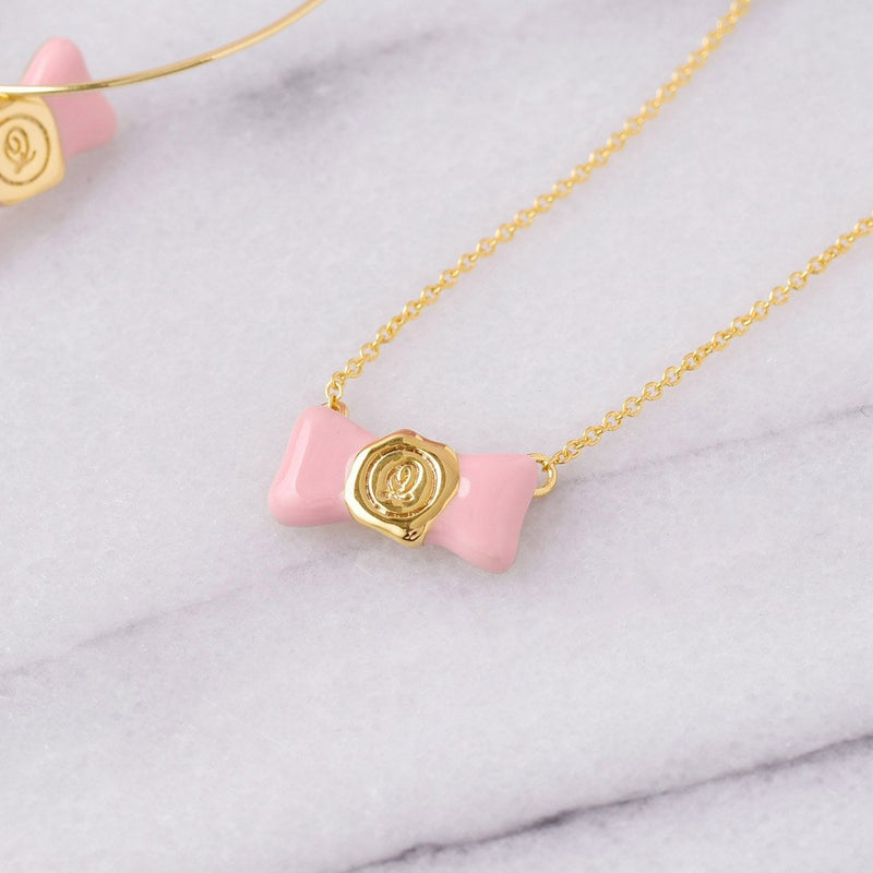 【Online Limited】Ribbon Initial seal Candy Necklace