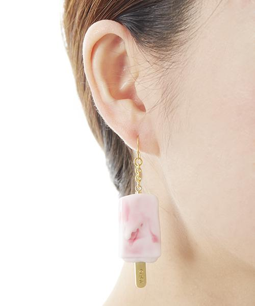 Strawberry Marble Ice Candy Pierced Earring (1 Piece)