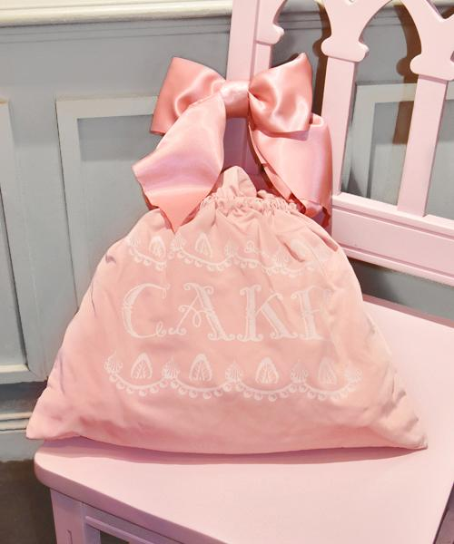Washable! 2way Ribbon Whipped Cream Tote Bag (Dusky-Pink)