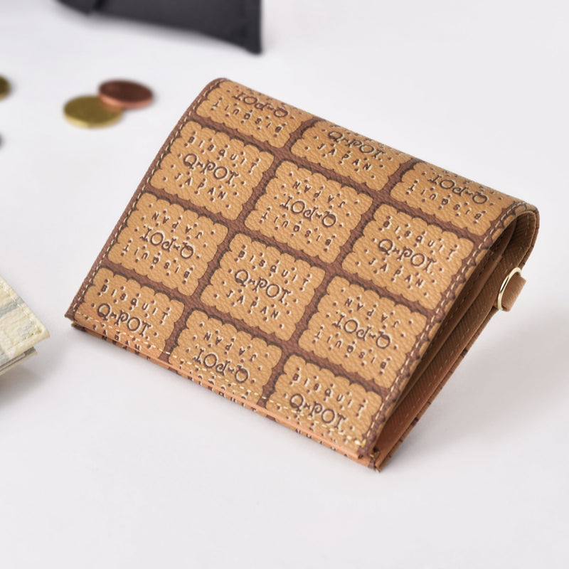Milk Biscuit Leather Flap Short Wallet