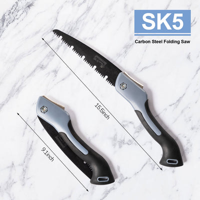 SK-5 Carbon Steel Folding Saw, Pruning Wood Hand Saw, Folding Multi-Function Sharp Hand Saw, With Triple Cutting Teeth And Teflon Coating, Used For Pruning, Sawing, Grafting, Camping And Gardening