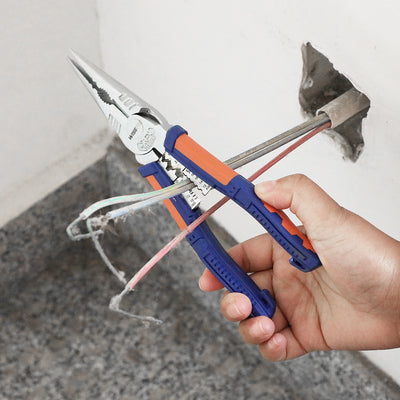 WISEPRO Long Nose Pliers with Cutter,8 Inch High Leverage Heavy Duty Pliers with Comfort Grip Long Nose Side Cutting Pliers