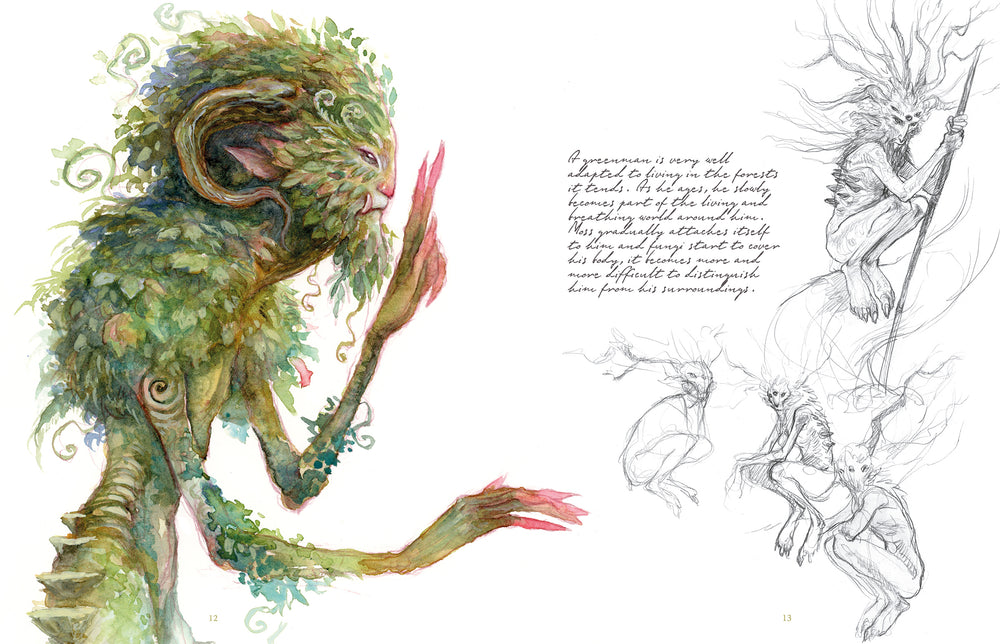 Sample spread for the Greenmen in Faeries of the Faultlines.