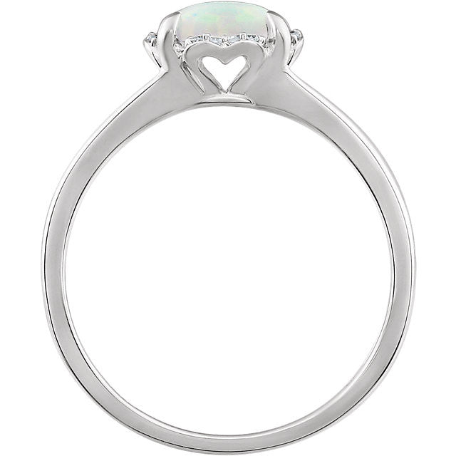 14kt White Gold Cushion Created Opal & .05 CTW Diamond Halo Ring- Sparkle & Jade-SparkleAndJade.com 651952:60010:P
