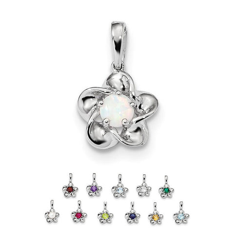 Sterling Silver Flower Pendant - Various Birthstone Choices- Sparkle & Jade-SparkleAndJade.com