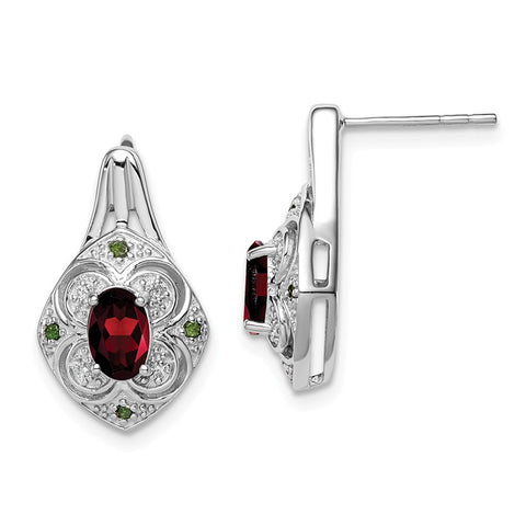 Sterling Silver Oval Garnet, White and Green Diamond Earrings- Sparkle & Jade-SparkleAndJade.com QE10080GA