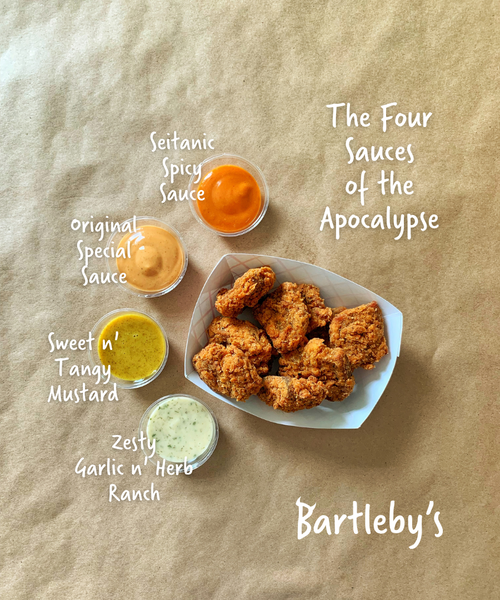 Bartleby's four signature sauces, surrounding a pile of nuggets.