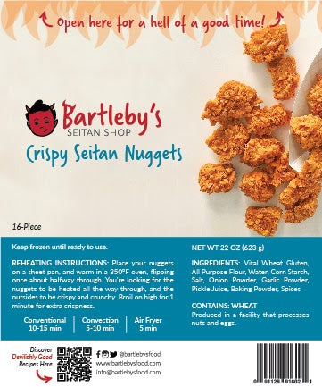 Image: The package label from Bartleby's Crispy Seitan Nuggets, which includes the Reheating Instructions, Ingredients list, and Allergen Information.