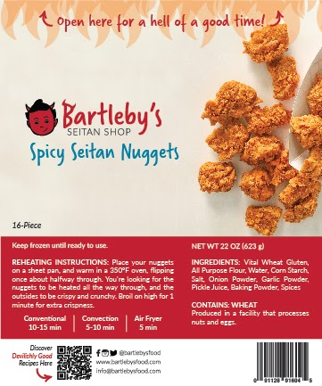 Image: The package label from Bartleby's Spicy Seitan Nuggets, which includes the Reheating Instructions, Ingredients list, and Allergen Information.