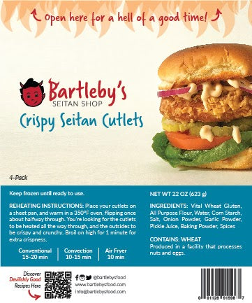 Image: The package label from Bartleby's Crispy Seitan Cutlets, which includes the Reheating Instructions, Ingredients list and Allergen Information.