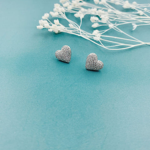 Shan & Co. | Paved love heart Molly earrings
