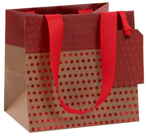 Embossed Craft Chritmas Bag | Red Star & Craft
