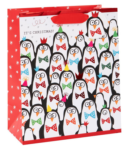 Christmas Gift Bag | Doodle Party Penguins | Medium