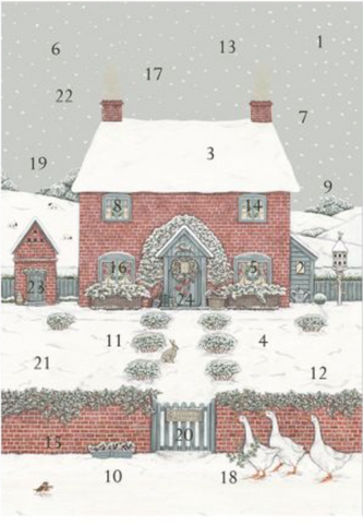 Sally Swannell | Christmas Cottage | Advent Calendar Card