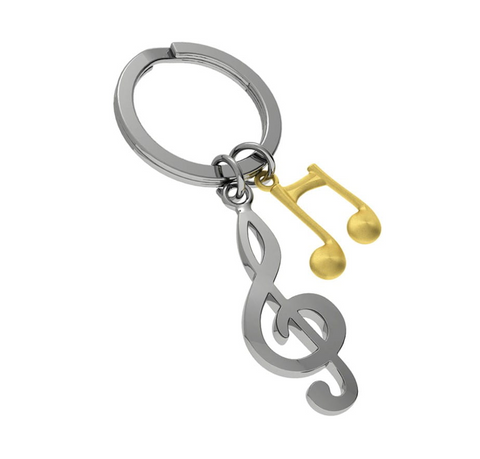 METALMORPHOSE KEYRINGS | SILVER AND GOLD TREBLE CLEF & MUSIC NOTE KEYRING