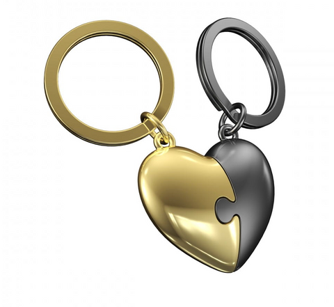 METALMORPHOSE KEYRINGS | TWO PIECE GREY AND GOLD HEART PUZZLE KEYRING