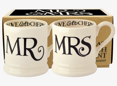 Emma Bridgewater | Black Toast 'Mr & Mrs' Set of 2 1/2 Pint Mugs Boxed