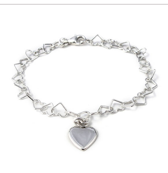 Tales From The Earth |  silver linked heart bracelet with heart charm
