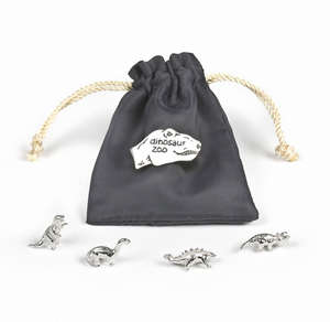 Tales From The Earth | Silver dinosaur zoo keepsakes pouch