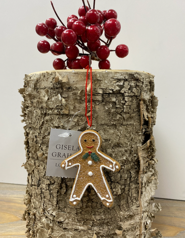 Gisella Graham | Gingerbread Man Decoration | Holly Bow Tie