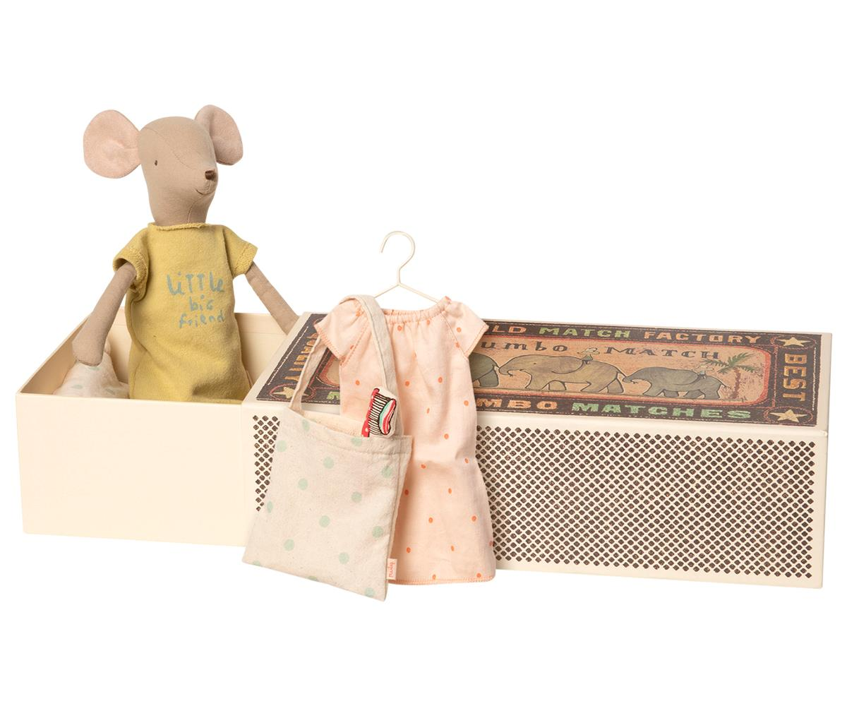Maileg | Medium mouse in box | Girl sleep-over set