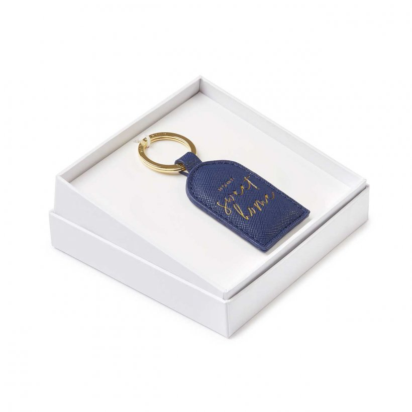 Katie Loxton | Beautifully Boxed Sentiment Keyring | Home Sweet Home | Navy