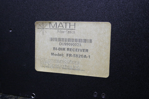 Math Video Over Fiber Bi-Directional Receiver FR-5820A-1 AC Included FREE S&H