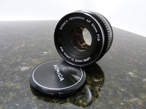 Fast & Clean Vintage Konica Hexanon AR 50mm F:1.8 Prime Lens Sharp Nice Glass