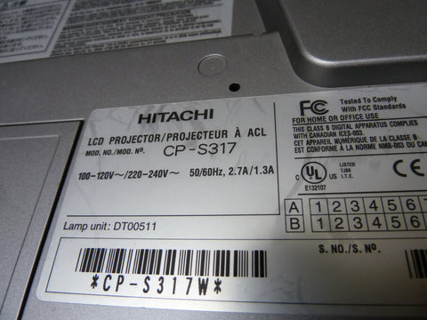 Hitachi CP-S317 LCD Projector Being Sold For Parts Or Repair Powers On No Lamp