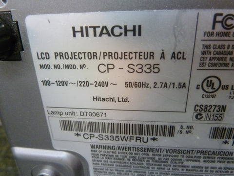 Hitachi CP-S335 LCD Projector Being Sold For Parts Or Repair Lamp Not Included
