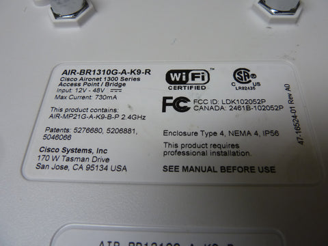 Cisco Model AIR-BR1310G-A-K9-R Wireless Access Point Only