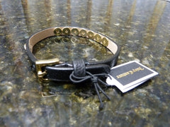 Genuine Juicy Couture Black Leather Pyramid Skinny Braclet $38 Retail YJRU7130 - tin can industries - 1