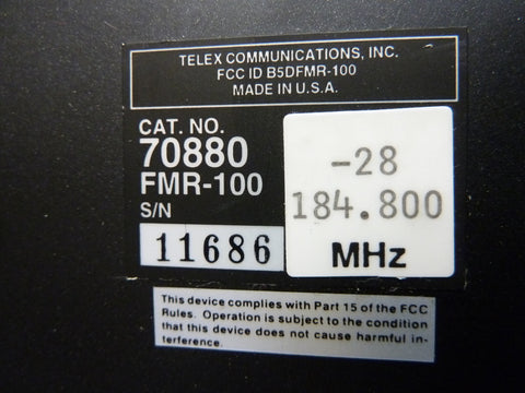Telex FMR100 FMR-100 Wireless Microphone Receiver 184.800mHz Fast Free Shipping