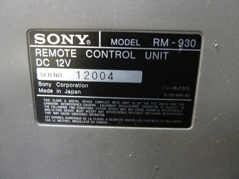 Sony RM-930 Lens Camera Remote Control Unit Fast Free Shipping Included