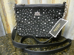 NWT Juicy Couture LouLou Crossbody Studded Velour Black YHRU0118 Free Shipping - tin can industries - 1