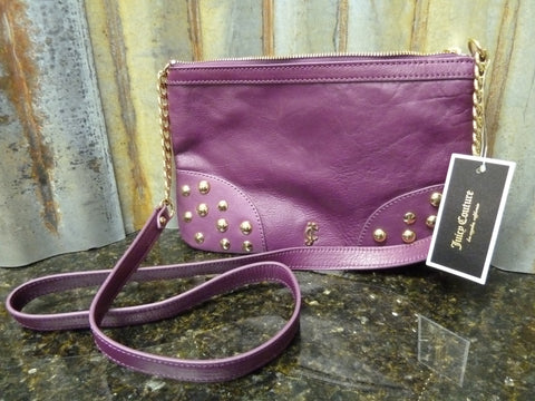 NWT Juicy Couture Tough Girl Crossbody Plum Leather YHRUO085 Fast Free Shipping